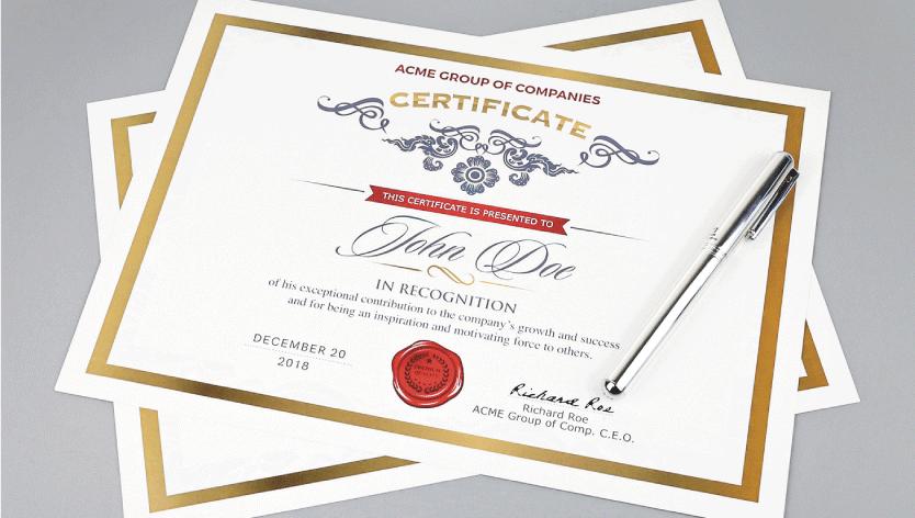 <div>Standard Certificates</div> 1 Image